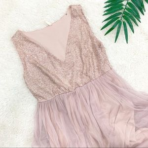 Pink Blush Tulle Formal Sequined Long Dress